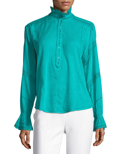 Louna Ruffled Cotton Blouse