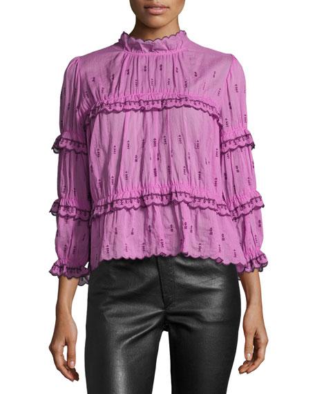 cb2864ece9 Etoile Isabel Marant Loxley Smocked 3/4-Sleeve Blouse, Pink