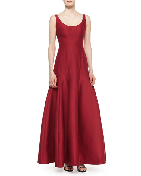Halston Heritage Tulip-Skirt Sleeveless Gown, Garnet