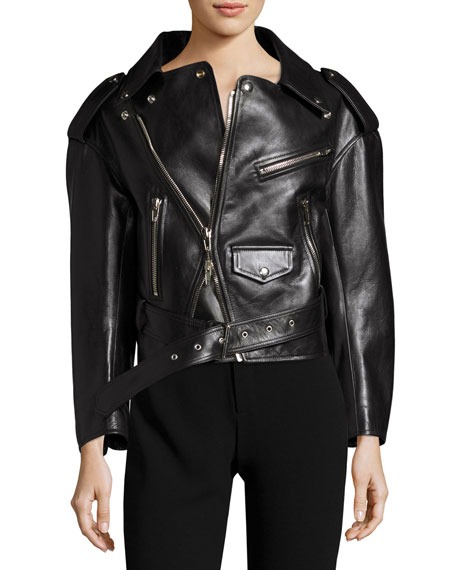 Balenciaga Leather Moto Jacket, Black