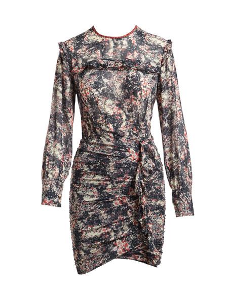Jirvina Floral-Print Sheer Mini Dress, Red