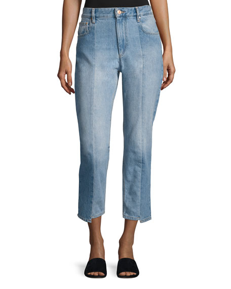 Etoile Isabel Marant Clancy Mixed-Denim Cropped Straight-Leg