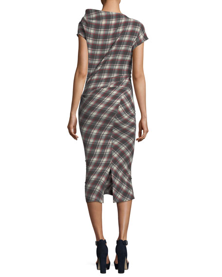 Free Shipping Pre Order Womens Pisa Plaid Ruched Wool-Blend Midi-Dress Isabel Marant High Quality Cheap Sale Great Deals Reliable Really Cheap Price JjWdOw