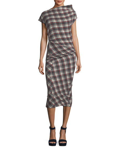 PISA RUCHED PLAID MIDI DRESS