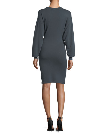Fanley Crewneck Blouson-Sleeve Cotton-Linen Dress