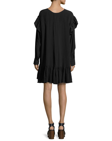 Wedy Ruffle-Trim Cotton Dress