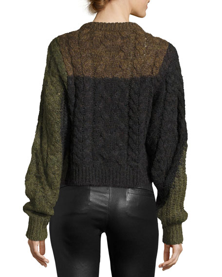 Daryl Colorblock Chunky Knit Sweater, Khaki