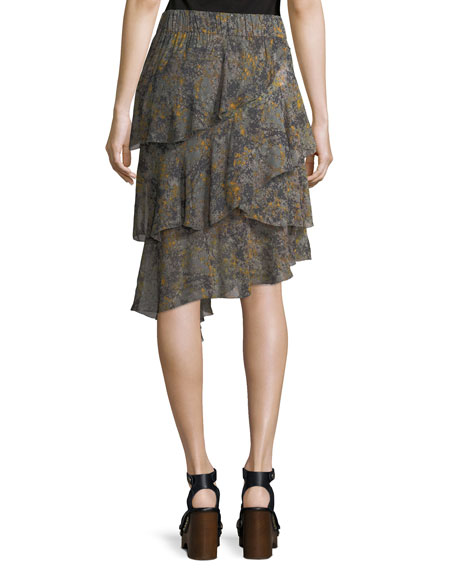 Zephi Ruffled Chiffon Skirt