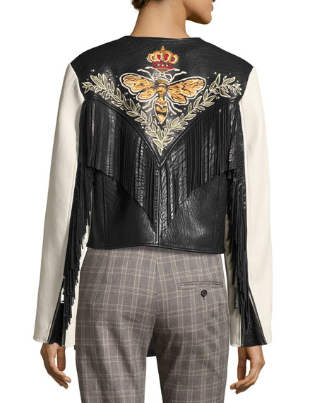 Kirk Two-Tone Fringed Leather Jacket, White