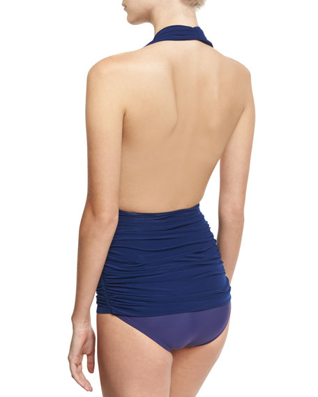 Bill Ruched Halter Maillot Swimsuit, Navy