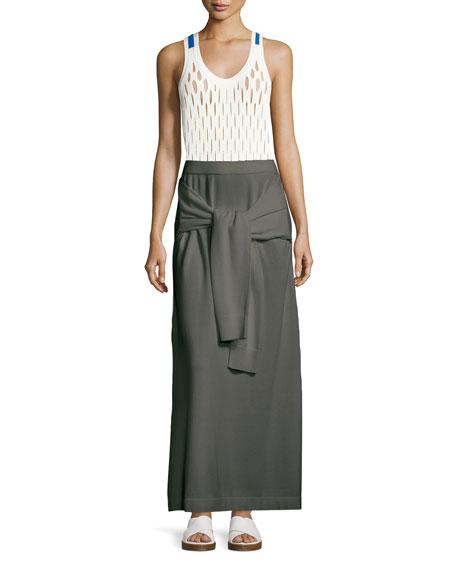 Tie-Waist Knit Maxi Skirt, White