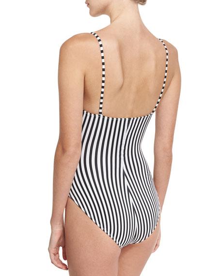 Mio Underwire Striped One-Piece Swimsuit, Black/White
