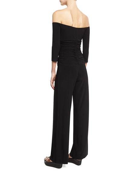 Off-the-Shoulder Shirred Waist Coverup Jumpsuit, Black