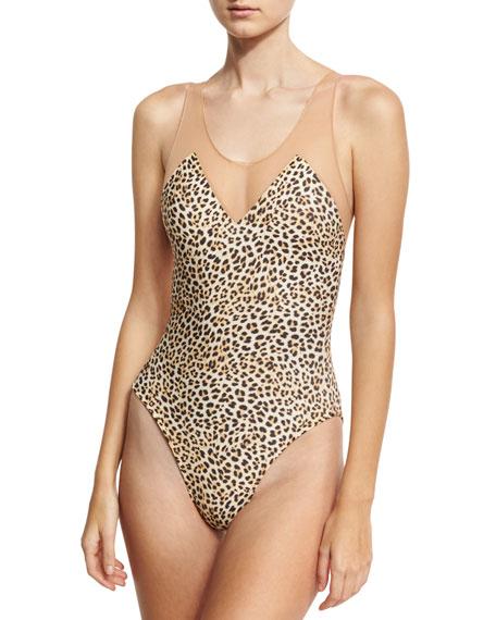 Norma Kamali Mio Racer Mesh One-Piece Swimsuit, Leopard