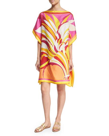 Fiore Maya Printed Silk Caftan Coverup, Pink/Orange