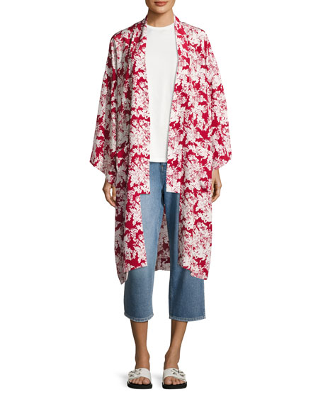 Floral-Print Silk Robe Jacket, Crimson/White