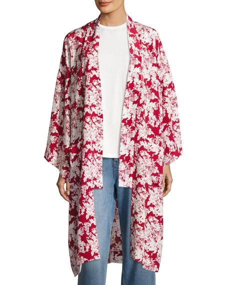 Floral-Print Silk Robe Jacket, Crimson/White