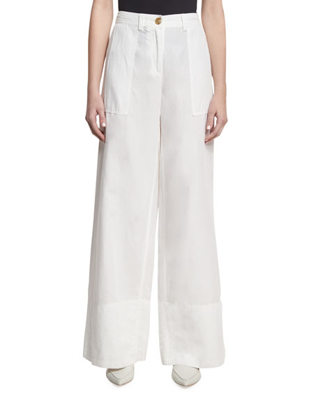 Robert Rodriguez Cotton-Linen Wide-Leg Pants