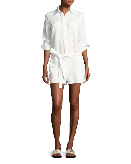 Belted Cotton-Linen Shirt Romper, White