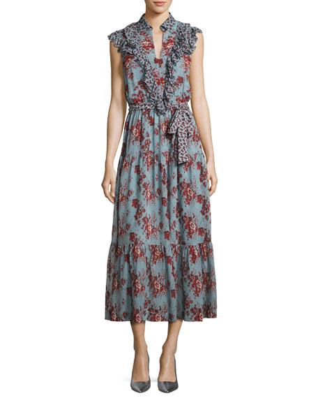 263f2c857 Robert Rodriguez Rose-Print Sleeveless Belted Dress with Ruffle Trim, Blue