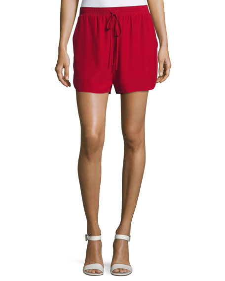 Relaxed Low-Rise Drawstring Silk Shorts, Crimson