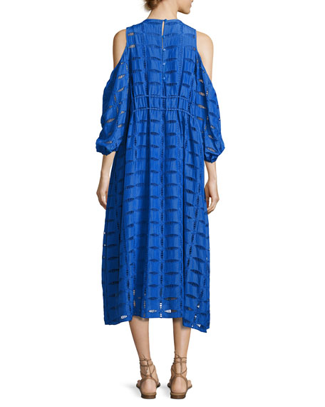 Luca Eyelet-Cutout Dress, Blue