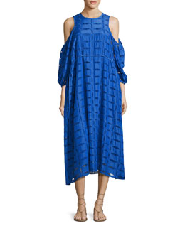 Luca Eyelet-Cutout Dress, Blue