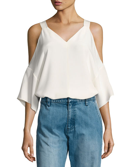 Silk Cold-Shoulder V-Neck Top, White