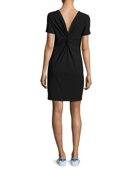 Luchia Twist-Back Rubric Jersey T-Shirt Dress, Black