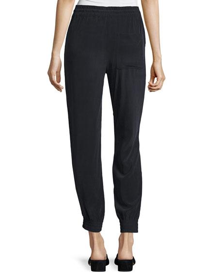 Cortlandt Summer Silk Jogger Pants, Navy Blue