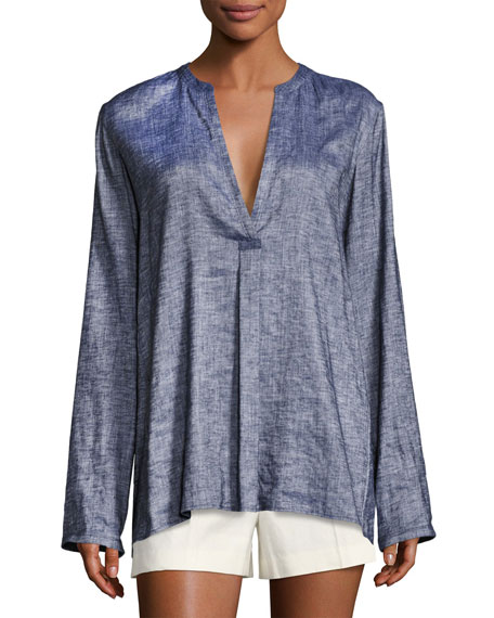 Ofeliah Tierra Wash Pleated Tunic Top, Blue