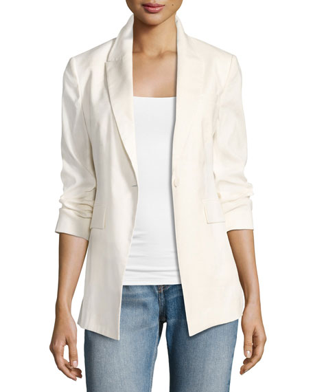 Etiennette Elongated Stretch Linen Blazer, White