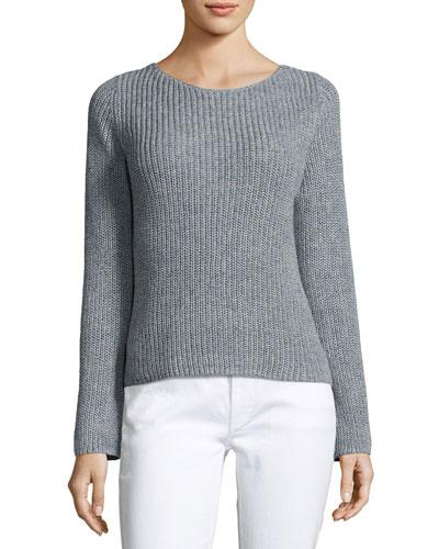 Lalora Linen Cotton Sweater, Blue