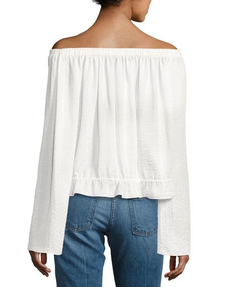 Odettah Off-the-Shoulder Crepe Top, White