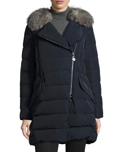 Metrodora Matte Puffer Coat w/Fur Collar, Navy