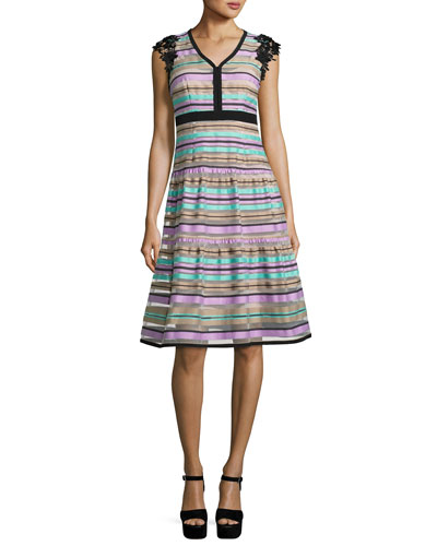 Magic Potion Sleeveless Striped Tulle Dress, Multicolor