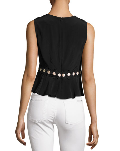 Posey Sleeveless Silk Crepe de Chine Top, Black