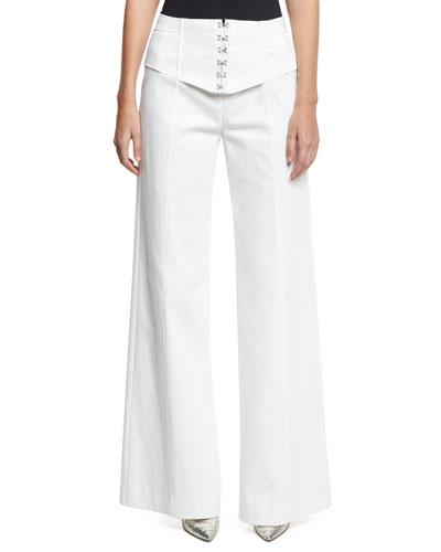 Hook Up Wide-Leg Pants, White