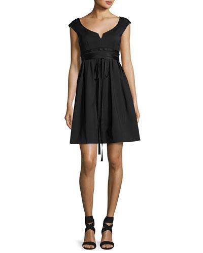 Fairy Tale Sleeveless Stretch Poplin Dress, Black