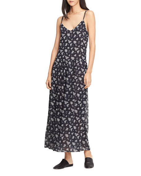 Calico Floral Shirred Waist Dress, Coastal Blue