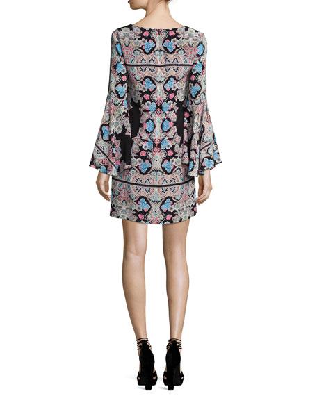Stargazer Bell-Sleeve Silk Kaleidoscope Mini Dress, Black/Multicolor