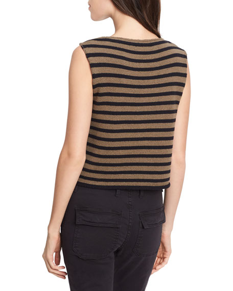 Striped Cotton Cropped Shell Tank, Military/Black