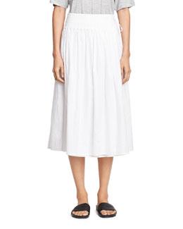 Stitch-Pleated Wrap Midi Skirt, White