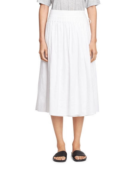 56fb665d7e Vince Stitch-Pleated Wrap Midi Skirt, White