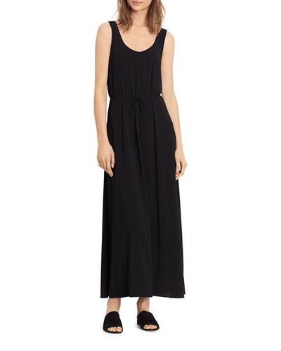 Wrap Back Scoop-Neck Dress, Black
