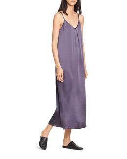 Pleated V-Neck Slip Dress, Plum