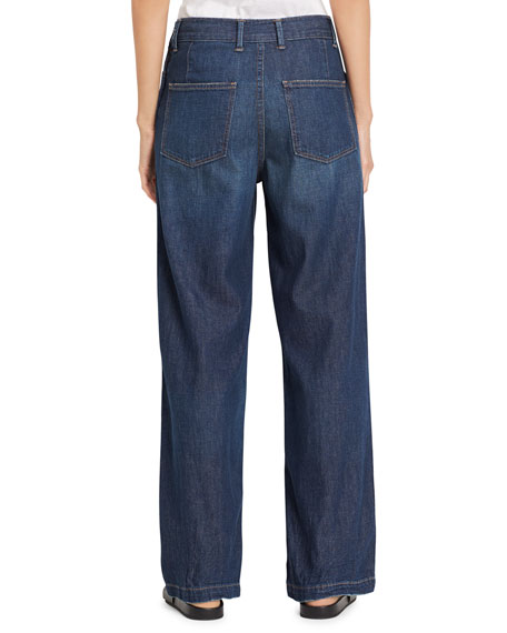 High-Rise Side Zip Wide-Leg Denim Jeans, Mid Wash