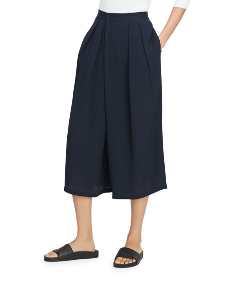 Crossover Pull-On Culotte Pant, Coastal Blue