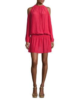 Lauren Cold-Shoulder Blouson Dress, Sangria