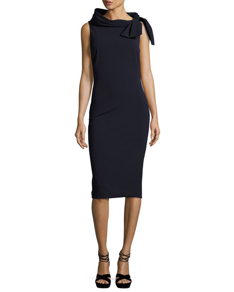 Badgley Mischka Collection Sleeveless Tie-Neck Cocktail Dress,
